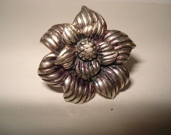 Sterling Silver Detailed Flower Deign Designer CJF