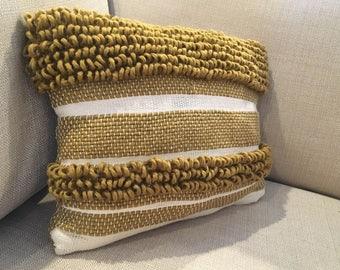 Textured Mustard and Cream Throw Pillow