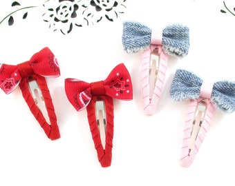 Bandana Snap Clips, Denim Hair Clips, Small Toddler Bow Clips, Pink Hair Clips, Western Hair Accessories, Cowgirl Hair Clips