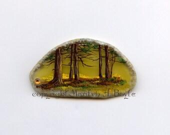 HAND PAINTED AGATE; stone, trees, nature, shelf art, original art, miniature art,