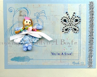 HAND MADE BIRTHDAY Card; blue, miniature doll, removable, silver accents, blank card, one of a kind, original, 5 x 7 inches, envelope