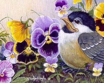 ACEO LIMITED EDITION card; 2.5 x 3.5 inches, art trading card, collectibel item, baby chickadee, pansies, flowers, garden, nature