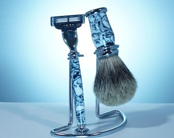 Shaving Kit with Stand, Old Fashion Shave Sets, Men's Gift, Christmas Gift, Acrylic Black and White, Shave Brush and Razor