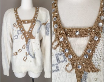 Vintage 1980s Lilly of California Sweater Cream Gold Silver Rhinestones Pearls