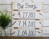 OUR STORY SIGN - Important Dates wood sign - custom sign, Wedding Gift - Valentine's Day Gift - Anniversary Gift - Custom Wooden Sign
