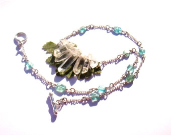 Quartz and Apatite: Stalactites, fairy necklace neck about 44 cm