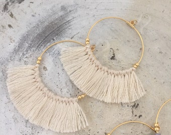 Silicon fook allergy free Fringe earrings tassel earrings beige white hoop earrings