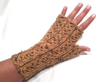 Butternut Tweed Crochet Fingerless Gloves