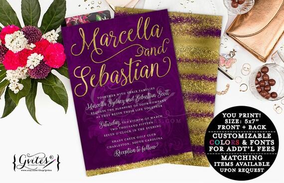 Purple & gold wedding invitation, eggplant gold glitter modern printable invitations, elegant, plum, eggplant, digital, couture glitz glam