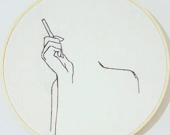 Smoking Embroidery-wall art hanging