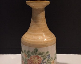 "LOUISVILLE STONEWARE Pottery Louie Bottle With Cork Stopper 12"" Tall"