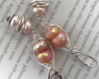 earrings, pink opal earrings, opal earrings, pink earrings, sterling silver earrings, boho chic earrings, bohemian earrings, summer trends
