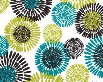 Modern Turquoise and Lime Sunburst Print Fabric White Background [[by the half yard]]