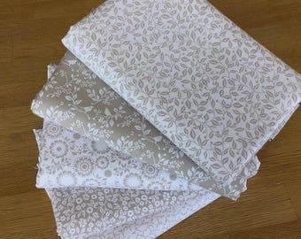 SILHOUETTE in beige Fat Quarter Bundle 100% craft cotton Fabric Freedom Quilting Fabrics