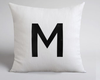 M Pillow - letter M Pillow - Handmade White Linen Pillow Cover -Decorative Pillow - Throw Pillow Cover - Natural Linen - Cushion Cover