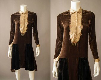 vintage 1920s dress / 20s brown silk velvet dress / extra small / Pressed Flowers Dress