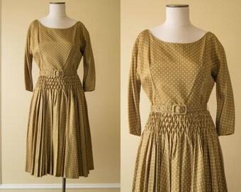 vintage 1950s dress / 50s polka dot dress / Jonathan Logan / small / Honeycomb Dress