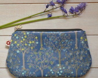 New! Bloom Denim Oilcloth Purse by Susie Faulks / Make Up Purse / Purse / Pencil Case / Made in England