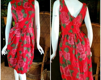 60's Red Rose Wiggle Dress with Rose at Waist, V'd Back, Vintage Red Roses Dress, Romantic Red Dress,  Red Roses Wiggle Dress, Red Dress, SM