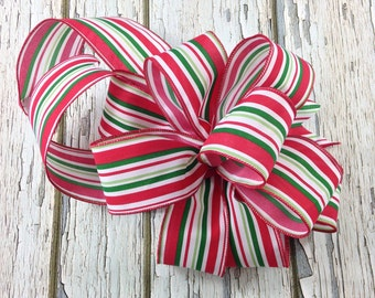 Christmas Tree Bow, Bow For Lantern, Wreath Bow, Christmas Bow, Bow For Package, Bow For Wreath, Bow Topper, Treetop Bow, Garland Bow