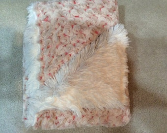 Coral and ivory baby blanket