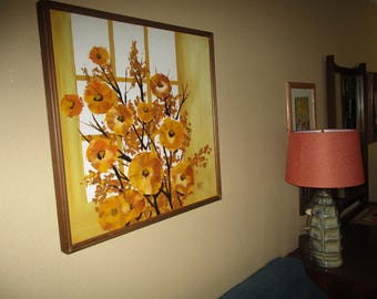 "1970s contemporary Floral  Painting 25"" x25"""