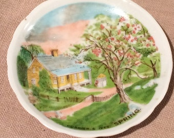 "Vintage Miniature Currier & Ives Spring Scalloped White 3 1/4"" Round Plate"