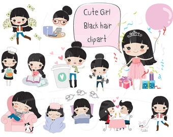 Black hair girl clipart ,girl stickers clipart set 2 instant download PNG file - 300 dpi