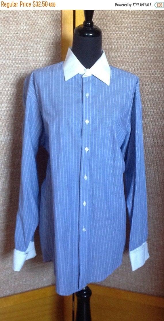 Men 39 S Blue Pinstripe Shirt White Collar White By