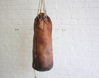 Leather & Horsehair Boxing Punchbag Circa 1930's