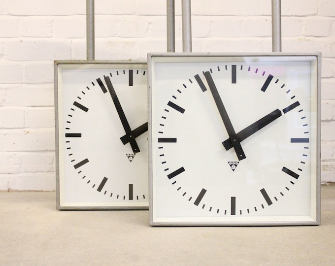 Large Double Sided Platform Clocks By Pragotron Circa 1960's