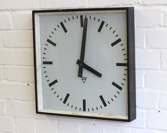 Black Industrial Czech Factory Clock By Pragotron Circa 1950's