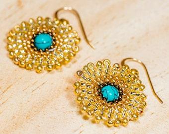 Beaded earrings,  mandala turquoise dangle earrings, round earrings, Christmas gift for her, gold filled earrings, boucles d'oreille