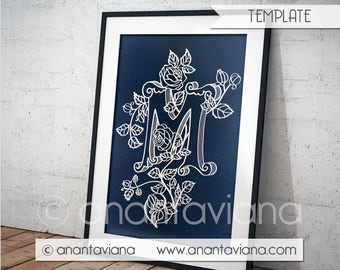 Papercut Template Commercial | Letter M | Commercial Use | Design by Anantaviana