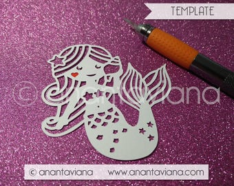 Papercut Template Commercial | Rainbow Mermaid | Commercial Use | Design by Anantaviana - Tysslinge frame