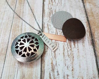 Perfume essential oil diffuser locket hand stamped necklace