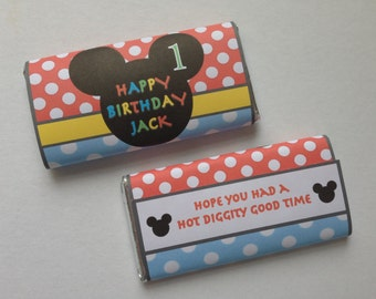 Mickey Mouse Personalised Chocolate Wrappers ~ Suit Mickey Birthday Party, Baby Shower ~ Mouse Ears Silhouette