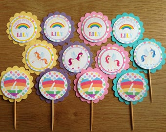 Unicorns & Rainbows ~ Personalised Cupcake Toppers ~ for Birthdays, Baby Shower, Christening