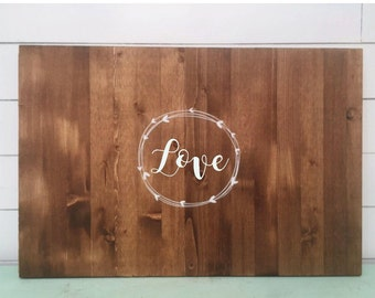 Monogrammed Guest Book. Rustic Vine or Wreath design Wooden Guest Book Alternative. Wood Sign Guest Book Personalized with Monogram