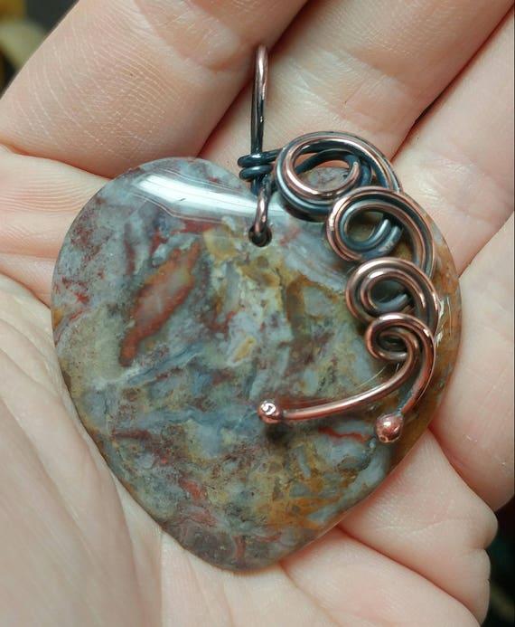 Heart Stone Pendant Necklace   Gobi Agate Pendant   Antique Copper Pendant   Semiprecious Gemstone Pendant   Gift for New Girlfriend