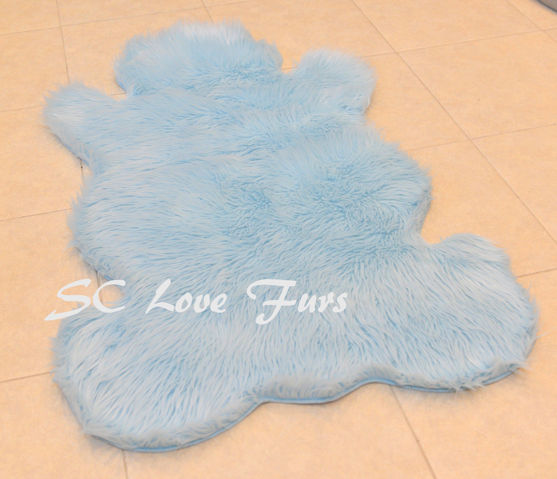 Teddy Bear Plush Nursery Baby Blue Sheepskin Baby Area