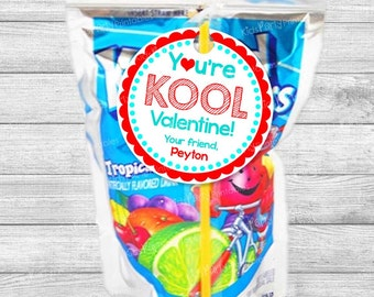 Valentine Tags, You're KOOL Printable Valentine Stickers, Personalized Valentine's Day Kool Aid Girl Boy Party School Class Classroom Gift