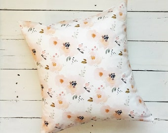 Peachy Pink Floral Modern Throw Pillow Cover