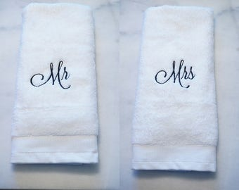 Mr. and Mrs. Hand Towels, Hand Towel Set, Housewarming Gift