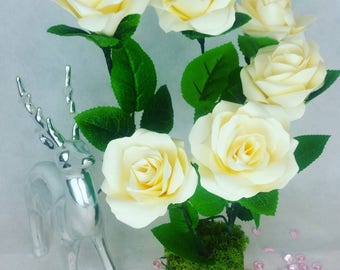 Decorative Roses mounted on a Block.  Perfect for Centrepieces, home decor, or a forever gift maybe.
