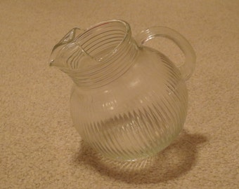 Vintage Tilt Ball Vertical Rib Clear Pitcher, Glass Pitcher With Ice Lip, Quart Drink Pitcher, Water Pitcher, Tilted Pitcher, Drink Pitcher