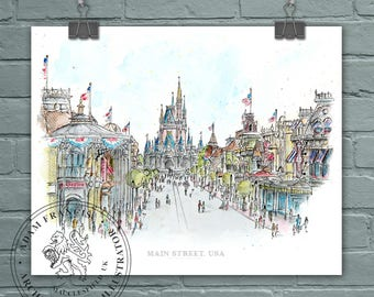 Main Street USA, Disney World. Art prints taken from my pen drawing & watercolour painting. Magic Kingdom drawing, Main St Disney.