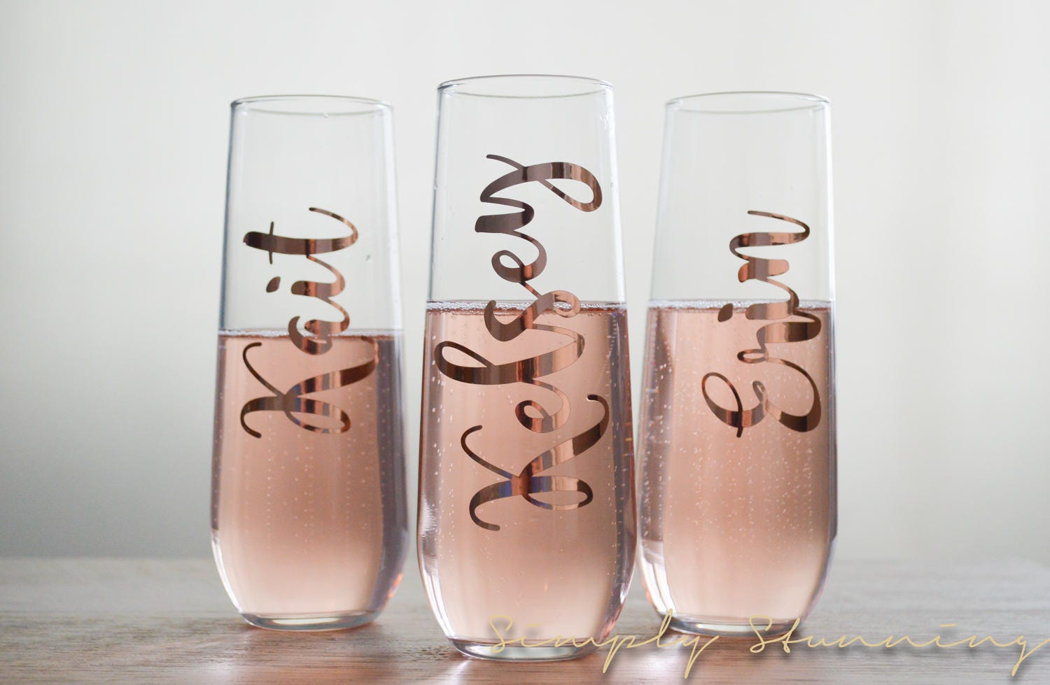 rose gold personalized champagne flute bridesmaid gift. Black Bedroom Furniture Sets. Home Design Ideas