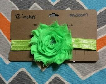 Newborn Sized Shabby Flower Headband w/ Jewel Center (12 inches)