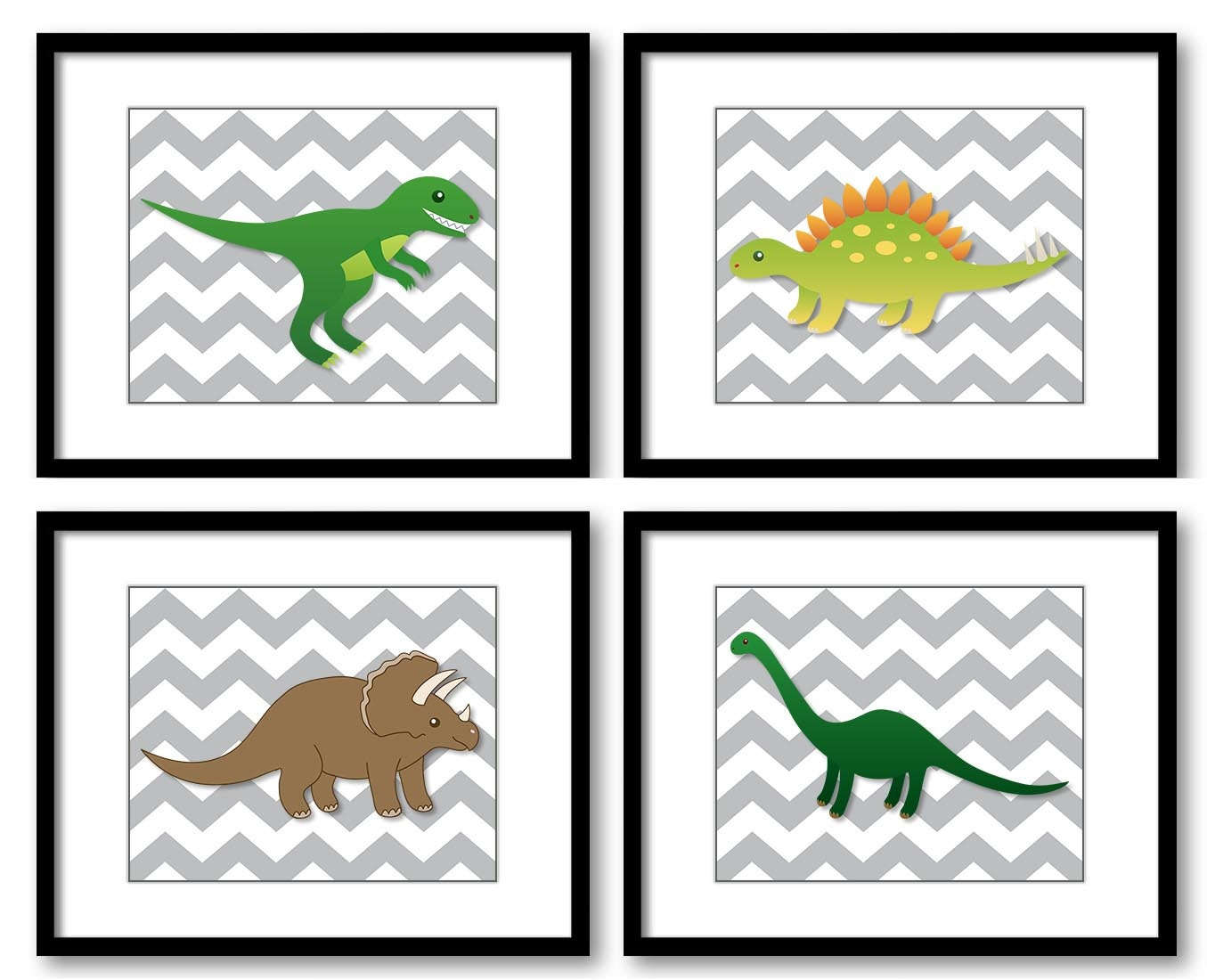 Dinosaurs Grey Chevron Green Brown Child Kids Children Art Boys Art Nursery Art Nursery Print Set of